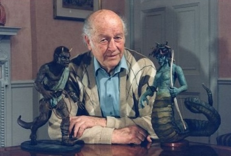 Mr. Harryhausen with his creations brought down to size.