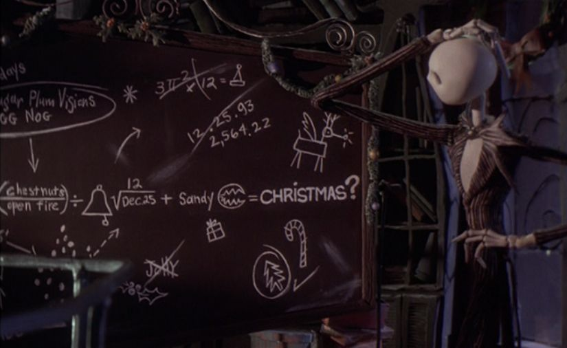 Nightmare Before Christmas chalkboard equations