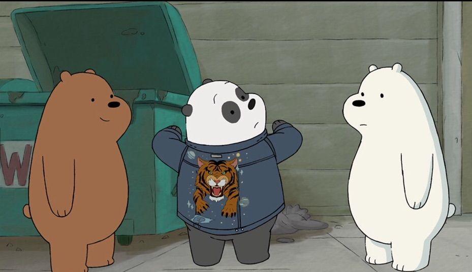 wbb jacket panda tries it on